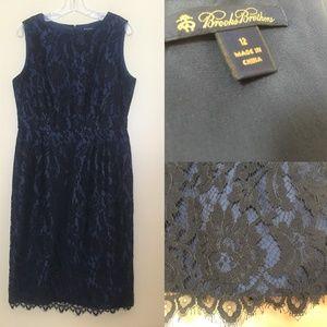 Brooks Brothers Black Lace Overlay Blue Silk Dress